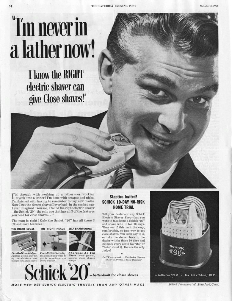 Schick 20 electric shaver 1953 ad