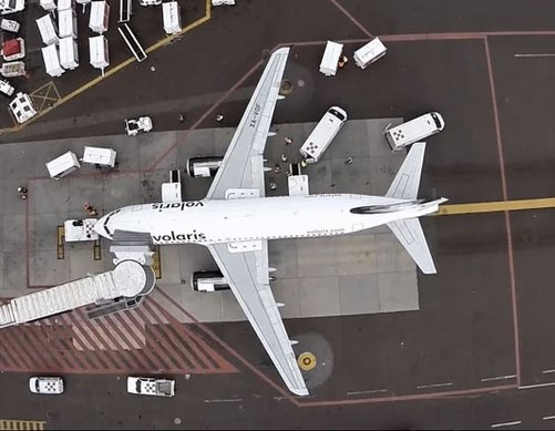 Aerial filming of everyday operations at Mexico International Airport by Drone