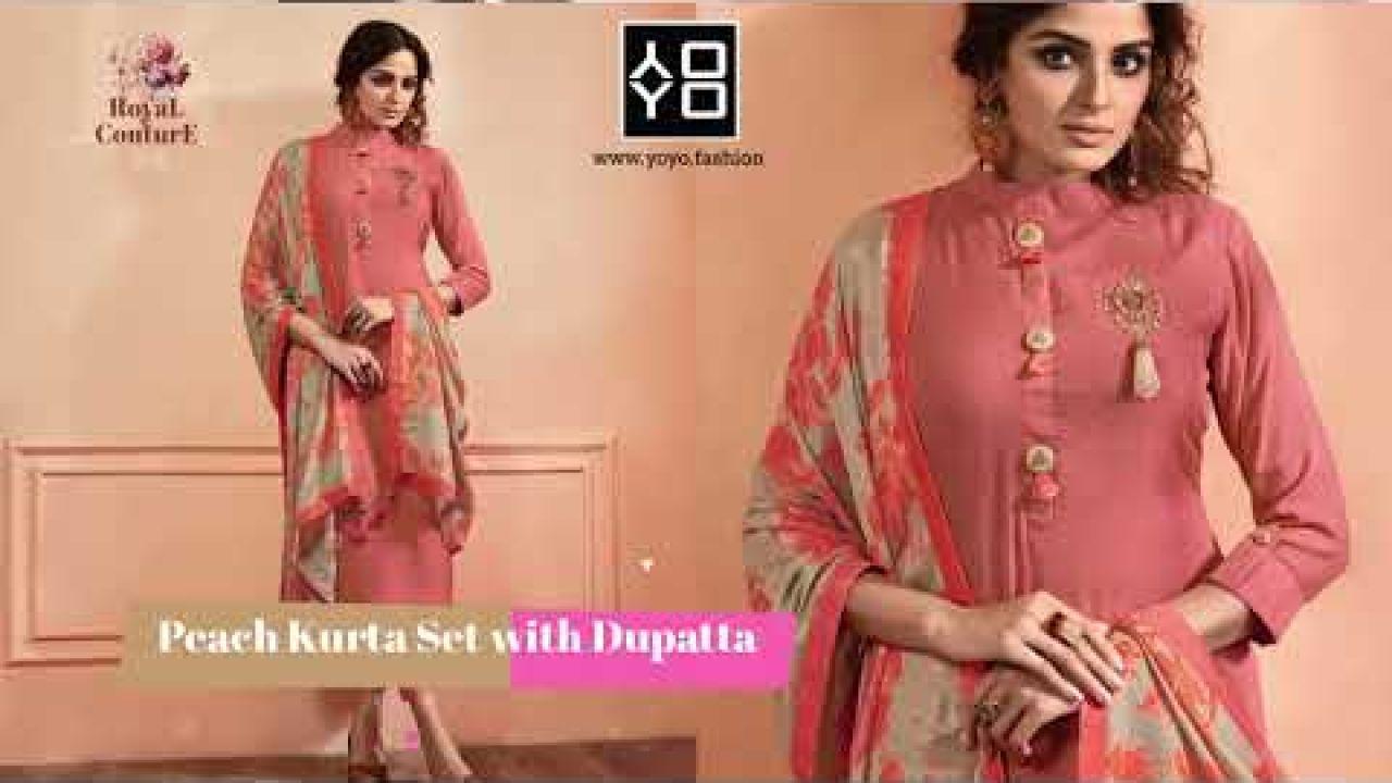 Plain Solid Kurta Sets with Dupatta - YOYO Fashion